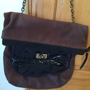 Lanvin Large Brown and Navy Colorblock Leather Bag
