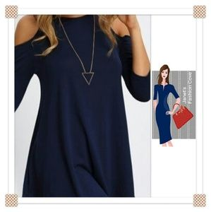 Tops - NEW ARRIVAL- Blue Cold Shoulder Tunic Top
