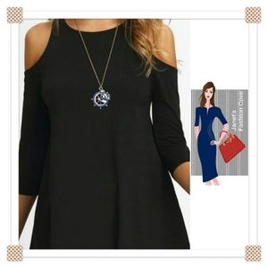 Tops - NEW ARRIVAL- Black Cold Shoulder Tunic Top
