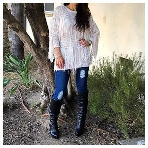 Ribbon fringed sweater top