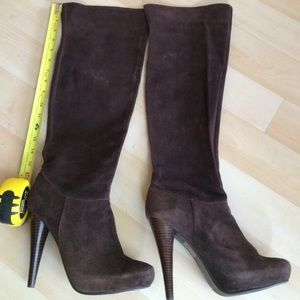 N.Y.L.A. Shoes - Brown suede high heeled boots
