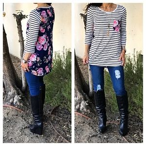 Floral back tunic