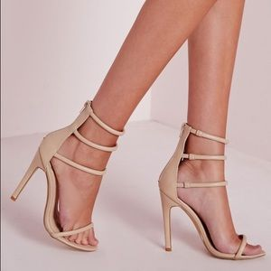 Misguided 4 strap nude sandals