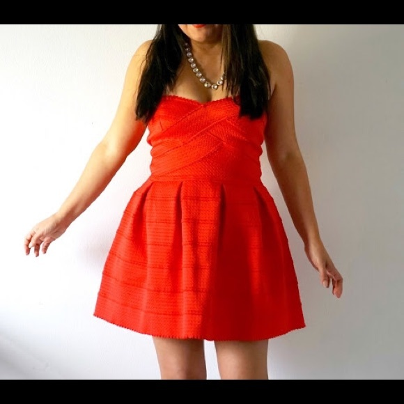 Dresses - Red Structured Skater Dress