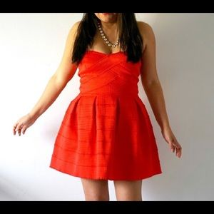 Red Structured Skater Dress