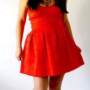 Dresses - Red Structured Skater Dress