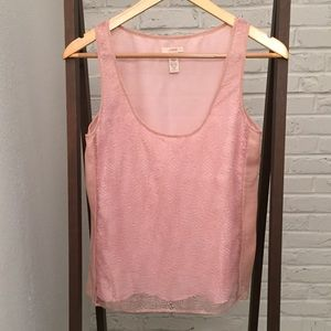 J. Crew Tops - J. Crew Delicate Pink Sleeveless Lace Silk Blouse