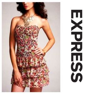 Express Ruffled Floral Strapless Dress