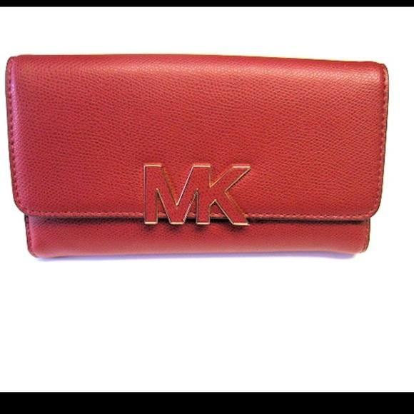 5e5ce6841b17 MICHAEL Michael Kors Bags | Michael Kors Red Florence Wallet | Poshmark