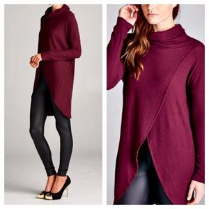 FashionBohoLoco Dresses & Skirts - RESTOCKED! Burgundy Cowl Turtleneck Tunic Top NWOT