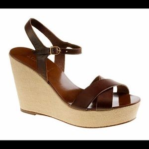 J. Crew Leather Wedges Size 6 Made in Italy