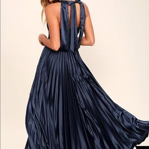 Navy blue satin ballerina type dress (Lulus)