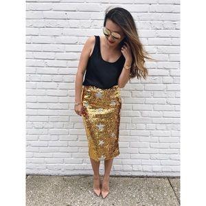 T&J Designs Dresses & Skirts - Gold Sequin Silver Star Skirt