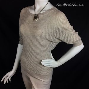 Express Sweaters - Express champagne gold metallic sweater