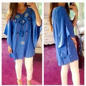 ❣️LAST❣️ Sky Blue Aztec Oversized Loose Kimono Top