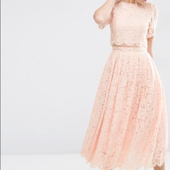 90ca256898f ASOS Dresses & Skirts - ASOS Lace Crop Top Midi Prom Dress