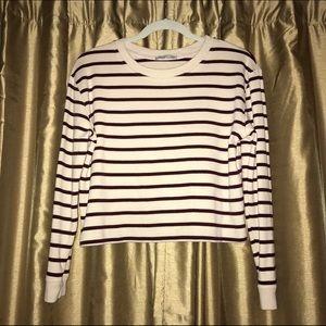 Zara • Striped Crop Long Sleeve Tee