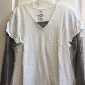 Danskin Now Tops - One shirt, has a layered look to it. White/gray