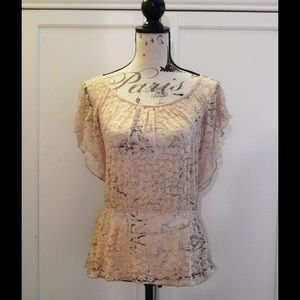Forever 21 Nude Pink Lace Blouse Sz M