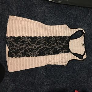 Pink and black lace tank top