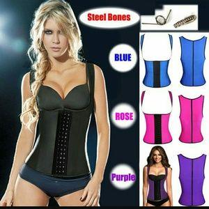 9 steel boned vest corset latex waist trainer