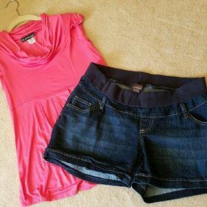 Maternity Blue Jean shorts Sz L by Motherhood
