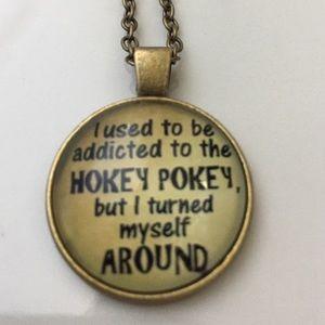 "Posherpooch Jewelry - ""Hokey Pokey"" Cabochon Necklace 18"" Bronze New"