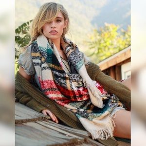 Sale•LAST ONE•Oversized Plaid Fringe Blanket Scarf