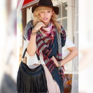Soft Large Oversized Plaid Fringe Blanket Scarf