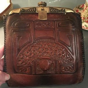 HP 11/30 Art Nouveau hand tooled leather bag