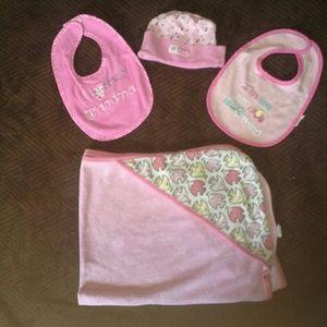Donating soon Girls random bib and towel lot