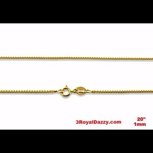 3 Royal Dazzy Jewelry - .925 sterling silver - 1 mm box chain -20 ""