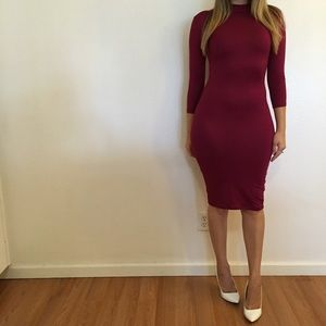 Dresses & Skirts - Burgundy 3/4 Sleeves High Neck Midi Dress