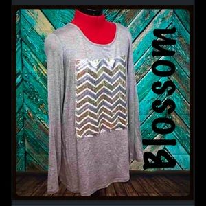 The Blossom Apparel Tops - SOFT Chevron Sequin Elbow Patch Top- READ
