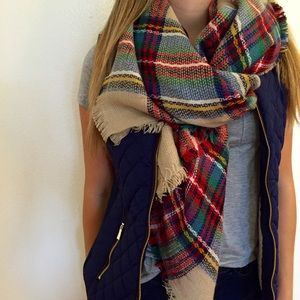 Accessories - Tan Plaid Blanket Scarf