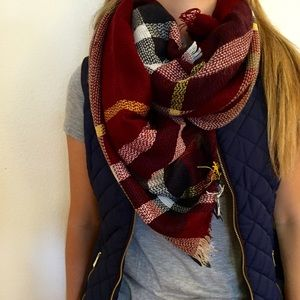 Accessories - Burgundy Plaid Blanket Scarf