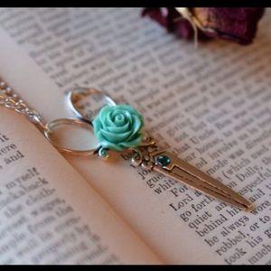 Abbie's Anchor Jewelry - Scissor necklace with roses & rhinestones