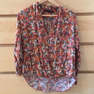 ZARA WOMAN Red Floral High-Low Blouse