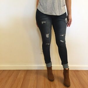 Denim - Dark Stone Destroyed Skinny Jeans