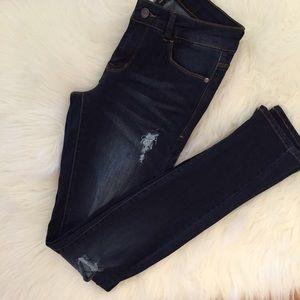 Denim - Dark Stone Destroyed Skinny Jeans