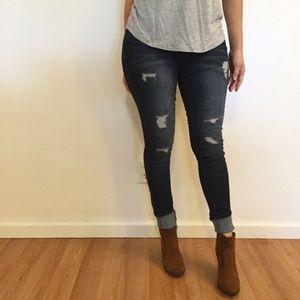 Dark Stone Destroyed Skinny Jeans