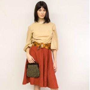 Vintage tan faux suede shirtwaist dress