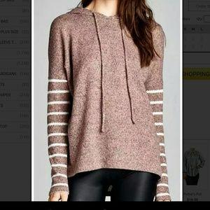 Last 1 SALE Pink Taupe Stripe Sweater Hoodie