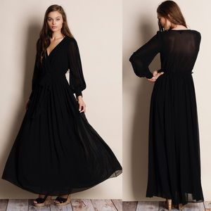 Pandora Chiffon Balloon Sleeve Maxi Dress