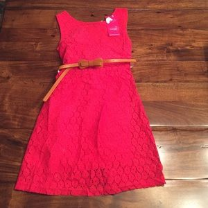Other - NWT Reddish Pink Holiday Dress with Bow Belt