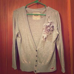 Grey rose cardigan