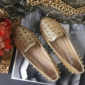 Traffic Shoes - TRAFFIC Gold Spiked Flat