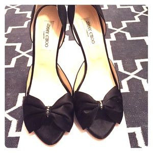 Jimmy Choo Black Satin Kult dress pump size 41