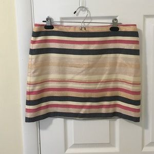 J. Crew Dresses & Skirts - Pink, gold, and grey striped J. Crew mini skirt.