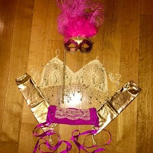 Showgirl feather mask belly dancer gogo burlesque
